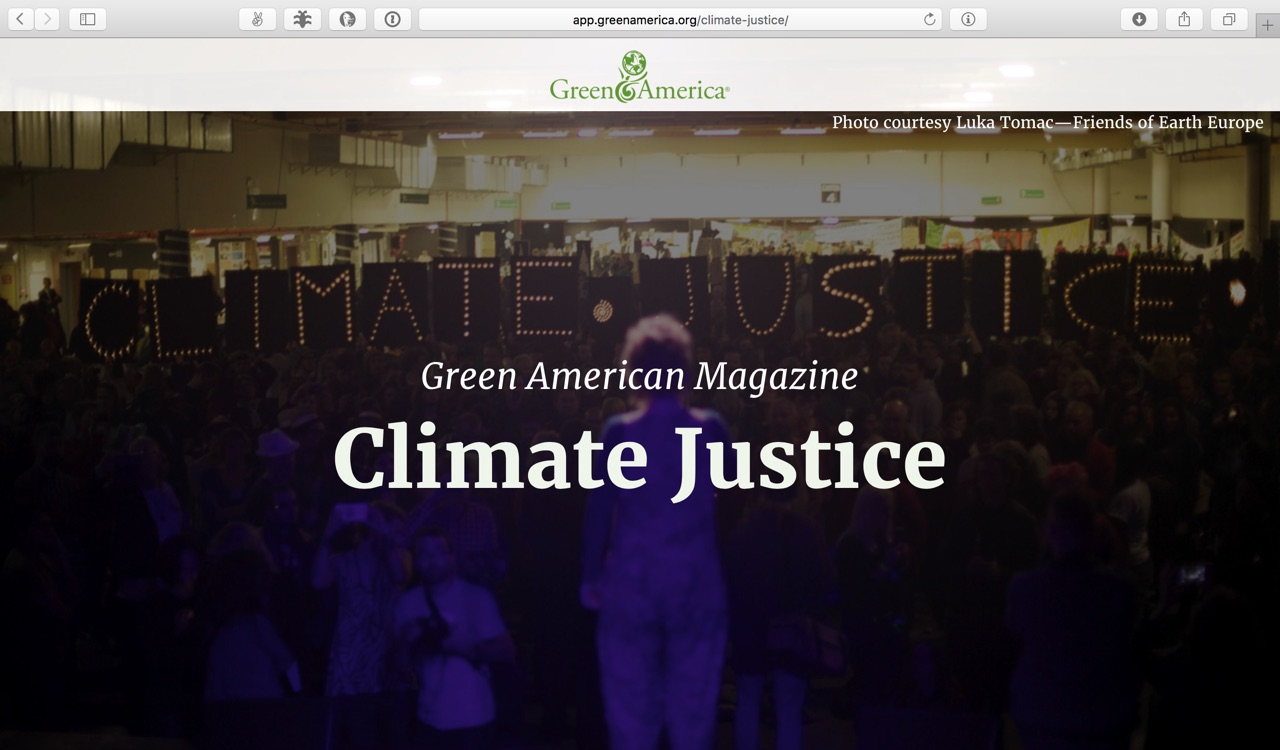 A screenshot of the Climate Justice feature.