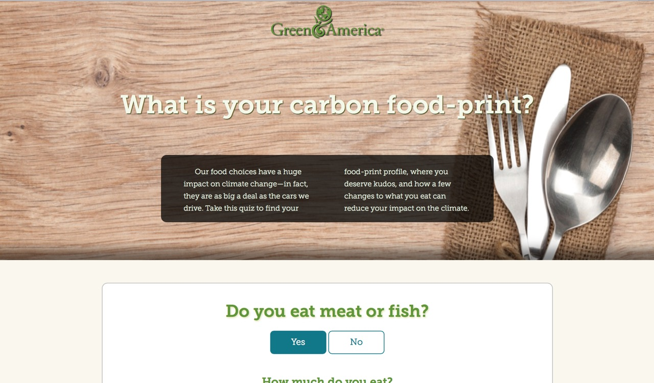 A screenshot of the Food Print Quiz