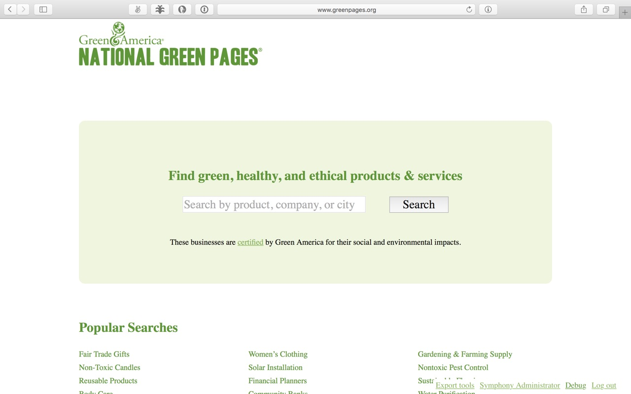 A screenshot of the Green Pages site